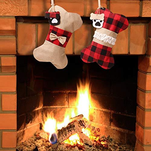 Travay 2pcs Classic Hanging Stockings for Pet Dog Christmas Decorations, Burlap Plaid Large Bone Shape Pets Stockings