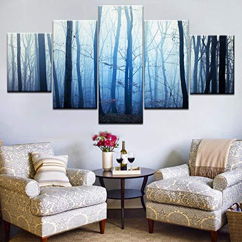 GHTAWXJ 5Panel HD Print Der Wald wurde in rauchblauen Landschaftsdruck auf Leinwand Kunstgemälde Wohnzimmer Dekoration Kranz