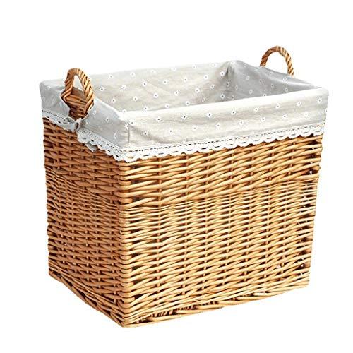 XYZMDJ Collapsible Rectangular Fabric Storage Bin Decorative Wardrobe Shelf Basket Organizer with Rope Handles for Clothes Storage & Toy Organizer (Color : A)