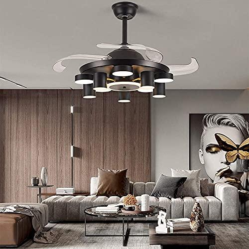 BPDD Simplicidad Inteligente, Techo Invisible, conversión de frecuencia, Ventilador de Techo, candelabro, iluminación de Techo, luz Colgante para Dormitorio, Sala de Estar, lámpara Colgante Moder