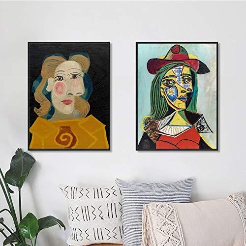 Oszagh Wandbild im Leinwandbild mit Kunstdruck ungerahmt, Picasso Famous Abstract Wallpaper 16x20cm * 2, Dekoposter, Geschenk, Kunstdruck -Rahmenlos -AKT-5975