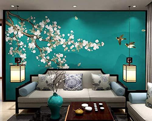 HONGYUANZHANG Grüne Blume Und Vogel Landschaft Custom 3D Photo Wallpaper Künstlerische Landschaft Tv-Hintergrundbild,140Inch (H) X 172Inch (W)