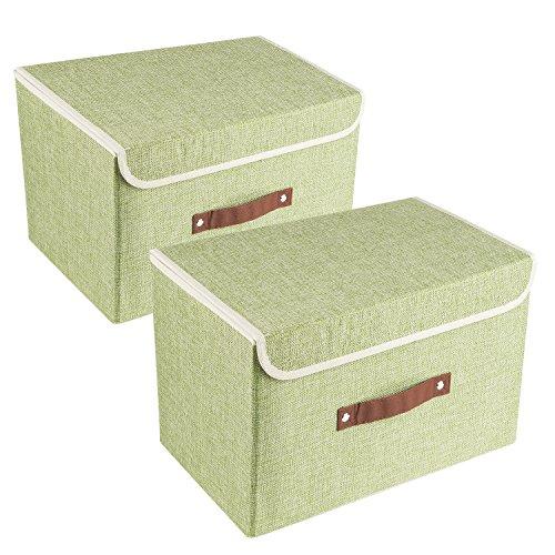UMI. by Amazon 2 Cajas de Almacenamiento Plegables con Tapas, Cajas Organizadoras - Verde
