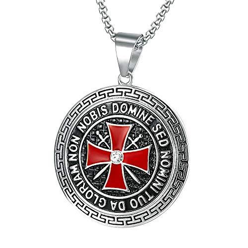 BOBIJOO JEWELRY - Anhänger Templer 41mm Stahl Silber, Rotes Kreuz, Non Nobis Domine SED Nomini Tuo Da Gloriam Kette