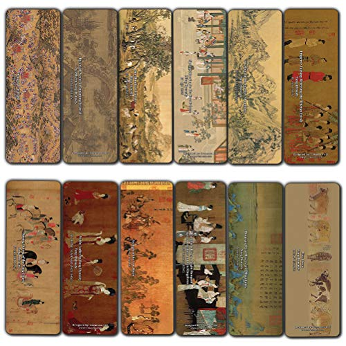 Creanoso Ancient Chinese Paintings Bookmarks (12-Pack) - Awesome Bookmarks for Men, Women, Teens – Six Bulk Assorted Bookmarks Designs – Premium Design Gifts for Bookworms – Page Clip