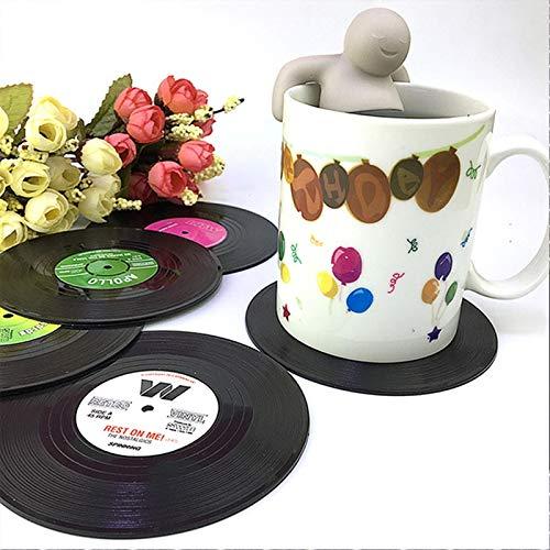 Küchenutensilien MMGZ 6 PCS/Set Retro Black Vinyl CD Rekord Untersetzer Heim Tabelle Schalen-Matten-Dekor-Kaffee-Getränke Tischset Geschirr Spinning, Durchmesser: 10,7 cm Die hohe qualität.