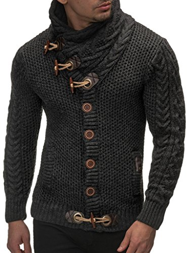 Leif Nelson  Men's Knitted Turtleneck Cardigan - Large - Anthracite