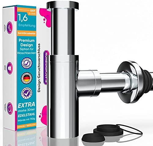 M. ROSENFELD HOME - Design Siphon Waschbecken KRAFTEX – Extra starke 304er Edelstahl Wände mit 750g - Geruchsverschluss inkl. Dichtungen - mit Reinigungsöffnung + Einbauanleitung an Abflussgarnitur
