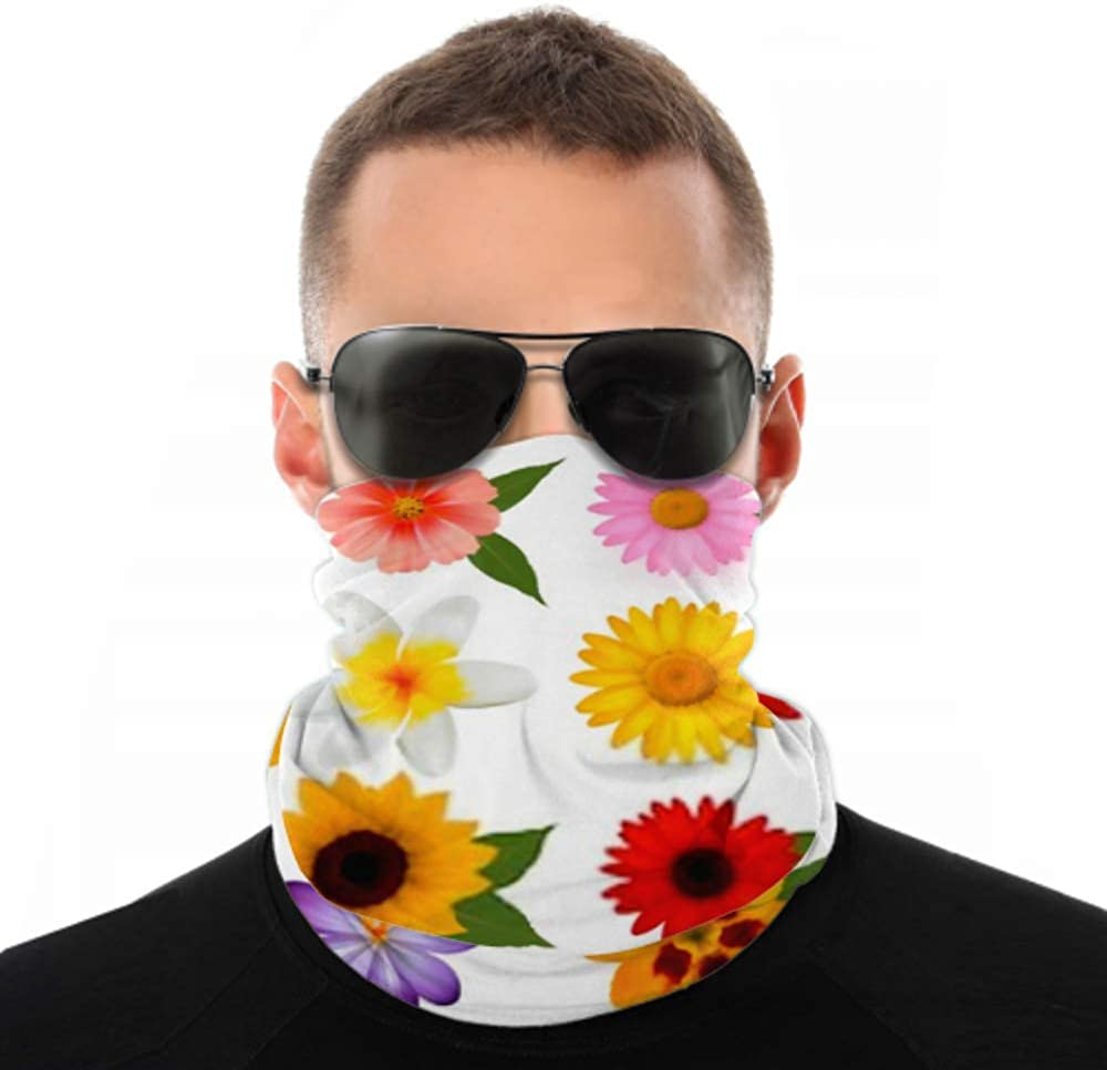 Headbands For Men Women Neck Gaiter, Face Mask, Headband, Scarf Big Beautiful Colorful Flowers Vector Illustration Turban Multi Scarf Double Sided Print Head Wrap For Women For Sport Outdoor