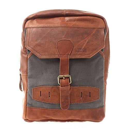 LECONI Crossbag Rucksack aus Canvas & Leder Bodybag für Damen + Herren Umhängetasche im Vintage-Look Retro Crossover-Tasche Unisex 26x34x10cm grau LE1012-C