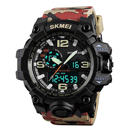 SKMEI Analogue-Digital Men's Watch (Black Dial Beige Colored Strap)