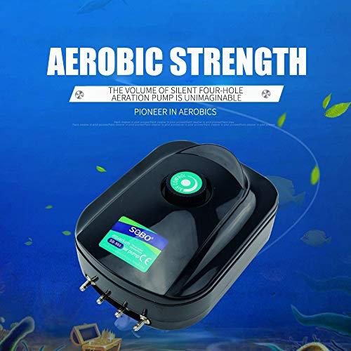 Haihuic 12W 980 litros/Hora Potente Bomba de Aire para Acuario de Cuatro Salidas, Bomba de Aire Ajustable para Tanque de Peces silencioso, burbujeador de aireador de oxígeno