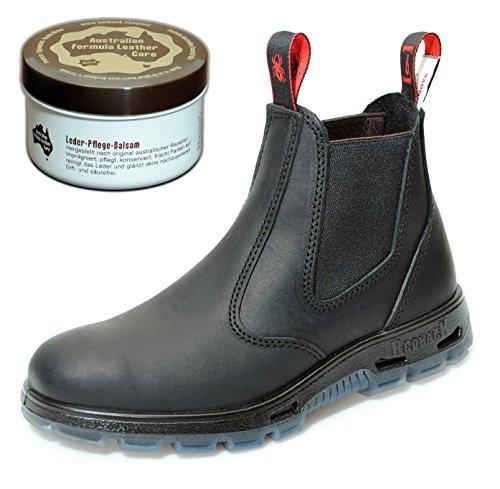 RedbacK UBBK Work Boots aus Australien - Unisex + Lederpflege | Black | UK 2.0 / EU 35.0