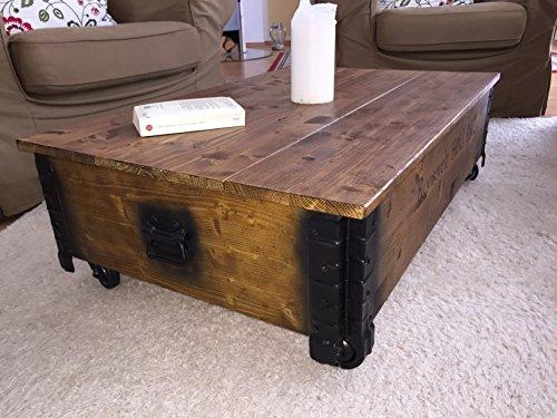 """Uncle Joe´s Couchtisch """"Roosevelt Field"""", Holz mit klappbarem Deckel, vintage, shabby chic, 100x65x30cm - 2"""
