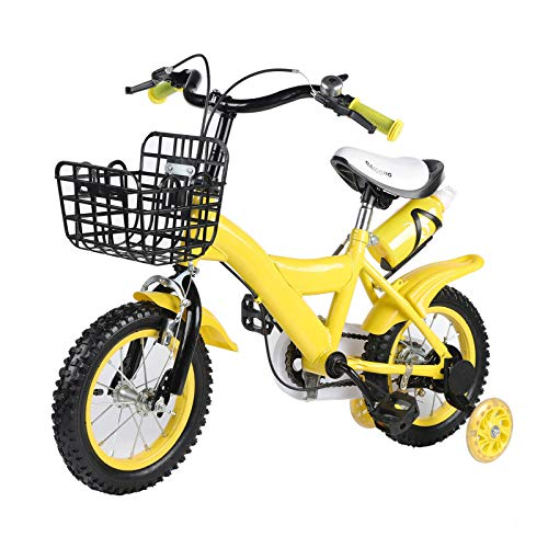 Kids Bike 12 Inch, Children Bicycle with Training and Water bottle Wheels for Boys & Girls, Yellow