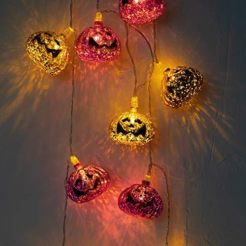 KPCB Halloween Deko Lichterkette Halloween Kürbis Lichterkette 2.77M 15 LED 3xAA Batterien betrieben lila und Gold Kürbislichter Innendekoration