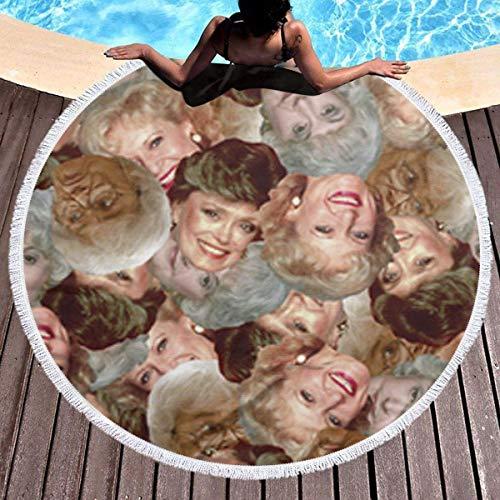 Rundes Strandtuch, Golden Girls Hippie Happy Youth Handtuch Extra große sandfeste Decke Yogamatte mit Quasten 59 '