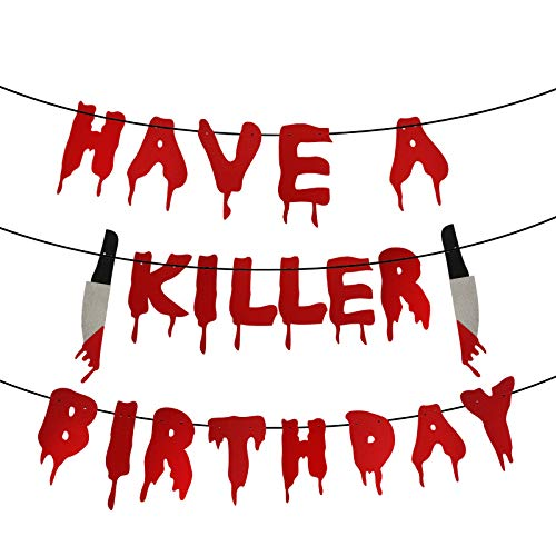 Have a Killer Birthday Party Banner, Halloween Horror Birthday Party Decorations, Friday the 13th Birthday Party Decorations, Halloween Zombie Vampire Party Decorations