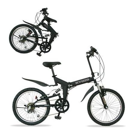 KYUZO 20インチ 折りたたみ自転車 6段変速にZOOM製フロントサス、リアサスを搭載した自転車の九蔵別注MTB! KZ-100 (マットブラック)