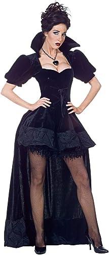 Horror-Shop Schwarz K gin Kostüm Premium mit Umhang für Halloween L