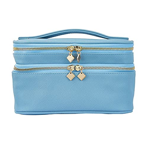 Korean Double Cosmetic Storage Box Makeup Finishing Box Beauty Tool Skin Care Storage Bag (Color : Blue)