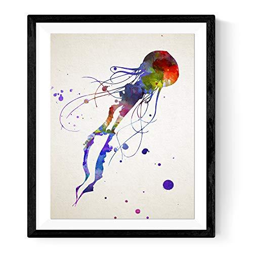 Nacnic Stampa Artistica in Stile acquarello rappresentazione di Medusa. Colori Vivaci e allegri. per Arredare casa Tua, Il Tuo Ufficio o per Fare Il Regalo Perfetto.