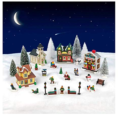 Cobblestone Corners 28 Piece Christmas Village Set - Christmas Village People - Christmas Village Accessories- Christmas Village Figurines