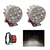 A2D 9 LED Small Round Auxiliary Bike Fog Lamp Light Assembly White Set