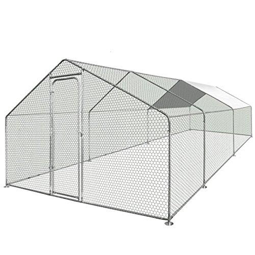 IDMarket - Enclos poulailler 18 m² Parc grillagé 6x3m Acier galvanisé