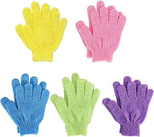 ZHONGXIN 5 paires Gants de bain exfoliants à double face, gants de douche, gants de bain à récurer à double face pour massage corporel sous la douche