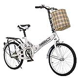 TRGCJGH Bicicleta Plegable Sin Instalación De Bicicleta para Adultos Bicicleta Portátil Ultraligera De 20 Pulgadas Pequeña Estilo Dama Pequeña Niño Y Niña Automóvil para Estudiantes,A-20inches
