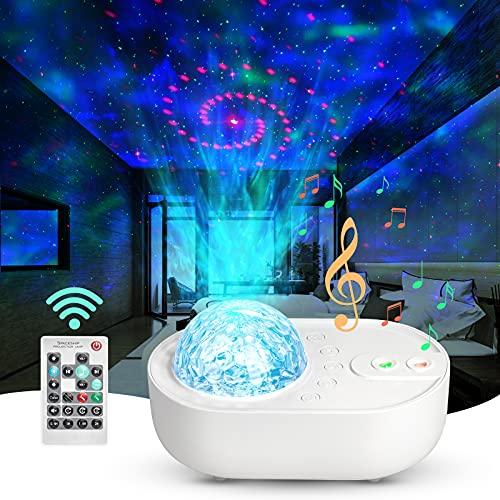 ANVAVA Proiettore Stelle Bambini Lampada Proiettore LED Luce Notturna Bebè con Telecomando e Bluetooth Musica 10 modalità Proiettore per Camera da Letto Feste Natale Compleanno