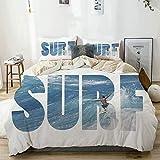 Funda nórdica Beige, Enorme y majestuoso Surfista con Olas oceánicas en Hawaii Adrenaline Epic Athlete Sea Pacific, Juego de Cama de Microfibra Impresa de Calidad de 3 Piezas, diseño Moderno