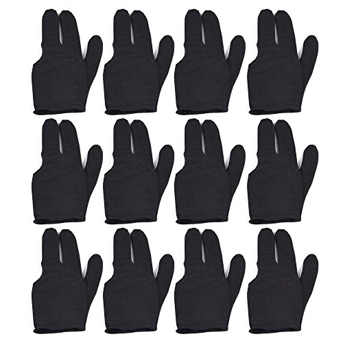 T\&R sports Billiard Glove 3 Fingers Show Pool Cue Gloves, Pack of 12 Pieces, Black