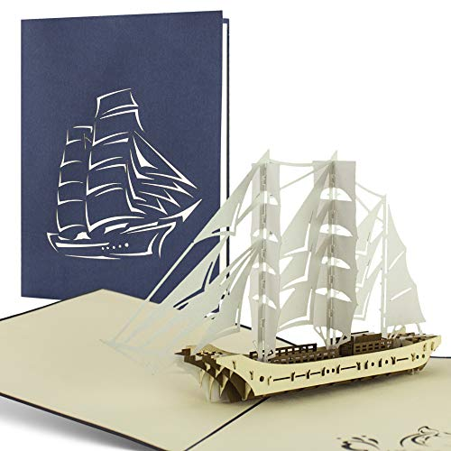 Gorch Fock Modell Karte, Geldgeschenk für die Reise oder eine Kreuzfahrt an der Ost-/Nordsee, Pop-Up-Karte mit Segelschiff, Geschenkgutschein für eine Reise, Glückwunschkarte, Boot, Schiff, edel, B11