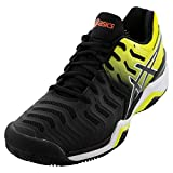ASICS Men's Gel-Resolution 7 Clay Court Tennis Shoes, 6M, Black/Sour Yuzu