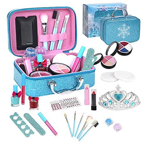 Souarts Maquillaje para niñas, lavable, juego de maquillaje para niños, maletín de maquillaje con esmalte de uñas, pintalabios, pincel, fiesta, regalo a partir de 3 años (azul cono)