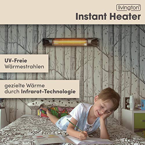 Mediashop Livington Instant Heater – Infrarotheizung für schnelle Wärme ohne Energieverlust – Heizstrahler mit Timer & Fernbedienung – auch als Terrassenheizstrahler im Außenbereich - 3