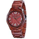Reloj de Madera Wonbee para Hombres y Mujeres-Artesanía Hecha a Mano Relojes de Madera-Banda de Madera del Reloj –Bisel de Madera- Reloj de Pulsera de Sándalo Rojo- Serie ARABTOON