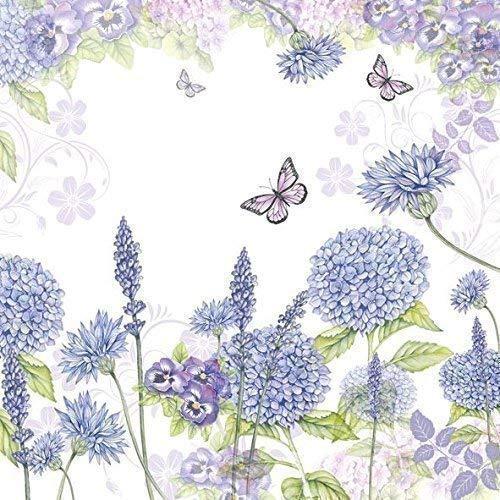 """Fleurs Papillons Mauve 3-PLY 20 Papier Serviettes de Table 13"""" X13 \"""