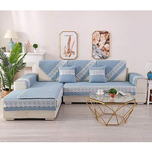 YSYW Sofabezüge Für Das Wohnzimmer Sofakissen Aus Gebürsteter Baumwolle Streifen Couchbezug Modern Minimalist Corner Seat Cover Sofa Towel,Blue-1pc-90x240cm(35x94inch)