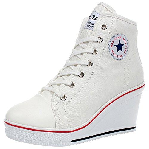 zpllsbratos Zapatos De Lona Altas Cuñas Plataformas Mujer Zapatos Casuales Tenis Deporte Talla Grande 35-43