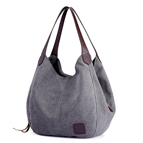 """【Superior Material】: Made of high quality 16 oz canvas, damask lining, durable polyester and PU leather zips, comfortable, breathable and lightweight, decreasing pressure of shoulder. 【Dimensions】: 11"""" (L) x 5.1"""" (W) x 11.8"""" (H), magnetic snap and zi..."""