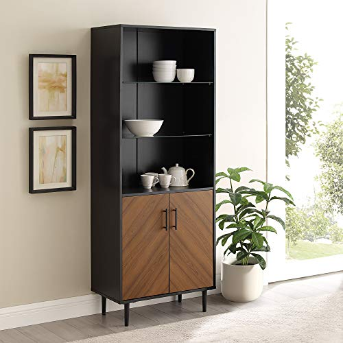 Walker Edison Mid Century Modern Bookmatched Hutch Wine Glass and Bottle Kitchen Storage Shelf, 68 Inch, Black