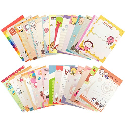 Creammuffin Stationary 8.2 x 5.83 Inches 30 pcs Lovely Kawaii Special Design Bear Style Stationery Writing Letter Paper Stationary Paper (White, Kawaii)