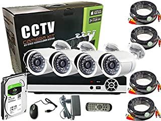 4Channel AHD Camera KIT with 1TB Hard Disk 2.0MP/720P CCTV Security Recording System CCTV Kit 4Pcs Outdoor Bullet Camera a...