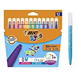 BIC Kids Kid Couleur Bébé Feutres de Coloriage à Pointe Large - Couleurs Assorties, Etui Carton de 12