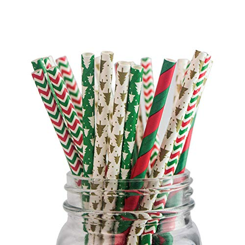 Paper Straws [100 Packs] 100% Biodegradable - Multiple Colors, Christmas Thanksgiving Party Decorations (Colours, Stripe)