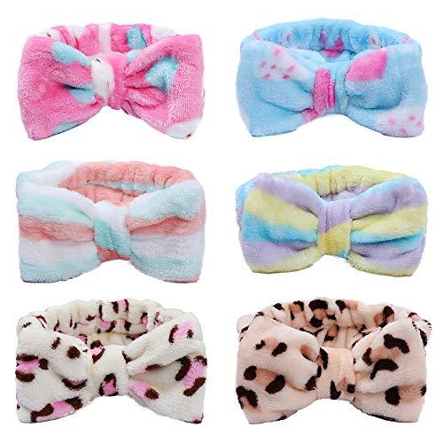 6 Stücke Bowknot Stirnbänder Für Frauen Mädchen Leopard Striped Elastic Coral Haarbänder Plüsch Make-up Gesicht Waschen Dusche Stirnband