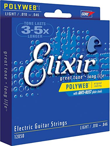 Elixir Strings Electric Guitar Strings w POLYWEB Coating, Light (.010-.046)